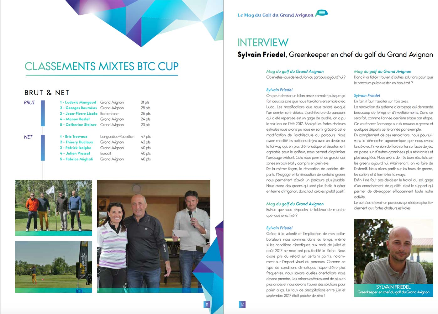 Interview greenkeeper magazine Golf Grand Avignon 2017
